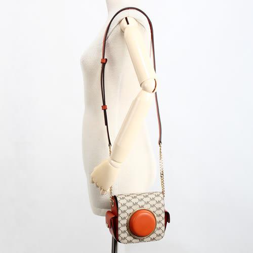 MICHAEL KORS Scout PVC防刮拼接皮革復古斜背相機包(橘色)611237-2