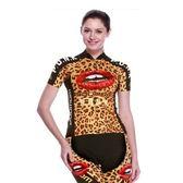 自行車衣套裝-含短袖腳踏車服+單車褲-性感豹紋時尚女運動服69u80[時尚巴黎]