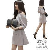 EASON SHOP(GU1195)灰色洋裝露肩腰間綁帶五分秀連身裙S-XL女裝甜美小清新性感修身繫帶氣質