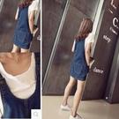 牛仔裙吊帶裙韓版吊帶裙學院風格顯瘦寬鬆口袋牛仔裙吊帶短裙【03M0818】