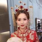 2020新款新娘結婚大氣中式婚禮秀禾服頭飾圓冠鳳冠霞帔古裝流蘇女 BASIC HOME