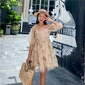 泡泡袖洋裝-星星亮片刺繡平口女連身裙73ye17【巴黎精品】