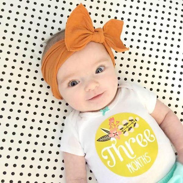 髮飾 髮箍 素色髮帶 Baby Bling 大蝴蝶結寬版寶寶素色髮帶 橘黃色系