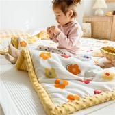 ins純棉絨毛毯全棉卡通兒童小被子珊瑚絨毯子冬季沙發蓋毯 夢幻小鎮ATT