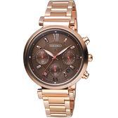 SEIKO精工LUKIA自信光彩太陽能腕錶 V175-0ET0C SSC832J1 咖啡x玫瑰金
