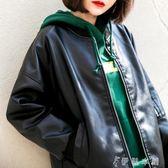 皮衣女寬鬆外套BF風PU皮棒球服韓版學生皮夾克潮 伊鞋本鋪