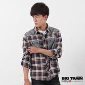 BIG TRAIN 素面布配格襯衫-男-藍咖格