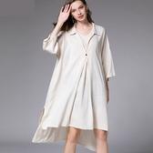 中大尺碼洋裝 長版棉麻襯衫長袖拼接連衣裙 2色 XL-4XL #jr7609 @卡樂@