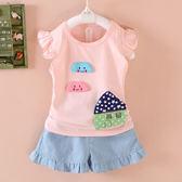 新款童裝女童短袖套裝01-2-3歲女寶寶夏裝小孩夏天衣服兩件套   限時八折嚴選鉅惠