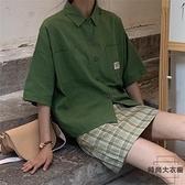 短袖襯衫女夏季小清新工裝襯衣寬鬆上衣【時尚大衣櫥】