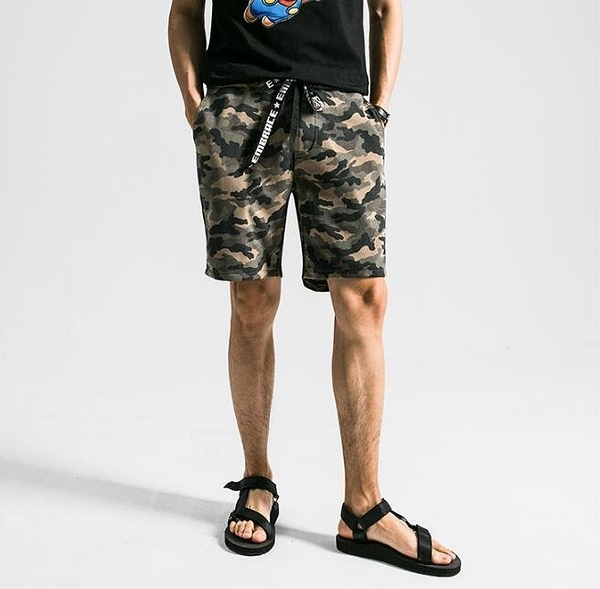 找到自己 MD 日系 時尚 潮 男 針織 花色迷彩 五分褲 休閒短褲 海灘短褲