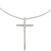 Tiffany & Co 蒂芬妮 18白K金鑲鑽石十字架項鍊【二手名牌 BRAND OFF】