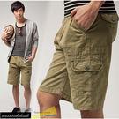 【大盤大】(A125) 夏 米黃 工作褲 休閒短褲 五分褲 男生 素色 純棉 美式 水洗褲【僅剩L和XL號】