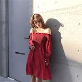 洋裝  一字領氣質木耳變壓褶顯瘦長袖純色連身裙