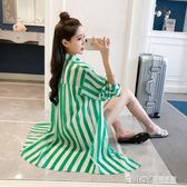 中長款防曬衣女2018夏季韓版蝙蝠袖條紋襯衫寬鬆防曬開衫薄款外套 溫暖享家