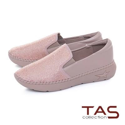 ★2018新品★TAS滿版水鑽拼接牛皮縫線休閒鞋-豆沙粉