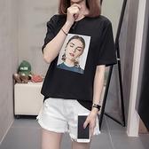 大碼短TL-4XL純棉印花T恤 21022MR26韓衣裳