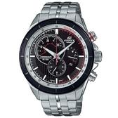 【CASIO】 EDIFICE 三眼三針碼錶計時不鏽鋼腕錶-黑X紅(EFR-561DB-1B)