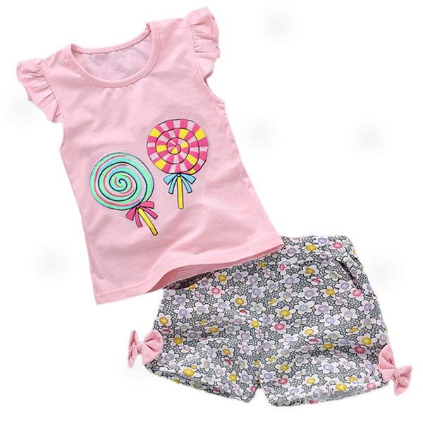女寶寶短袖套裝 粉紅棒棒糖 短袖上衣+碎花短褲 嬰兒童裝 CK11032 好娃娃