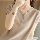夏季棉麻V領半袖T恤女2021新款亞麻寬松純色短袖系扣上衣純棉外穿 居家家生活館