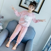 女童睡衣秋冬季珊瑚絨家居服加厚保暖套裝【聚可愛】