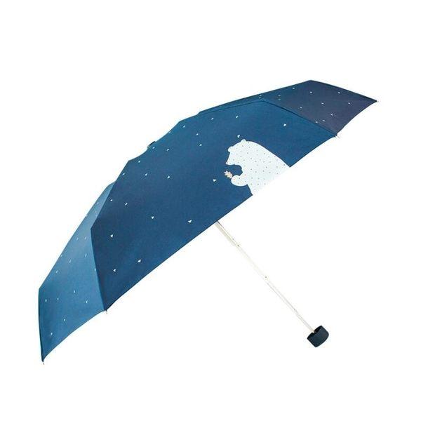 【現貨】松熊 熊熊 五折晴雨傘 迷你黑膠傘 超輕 防曬 遮陽 口袋傘 兩用折疊雨傘 扁平設計