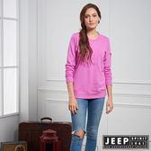 【JEEP】女裝 品牌立體浮雕LOGO長袖TEE (紫紅)