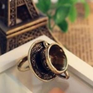 ♥靚女堂♥【GJZ0297】 歐美外貿復古飾品 玩味樂趣立體 咖啡杯勺子戒指