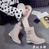 新款韓國春夏秋女士短筒雨靴水鞋防滑坡跟膠鞋休閒單雨鞋女中筒 雙十二全館免運