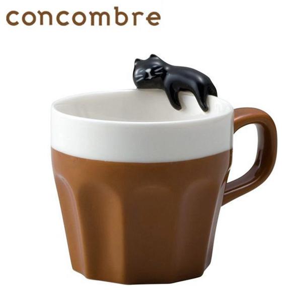 黑貓款【日本正版】貓咪 陶瓷 馬克杯 250ml 咖啡杯 concombre DECOLE - 402187