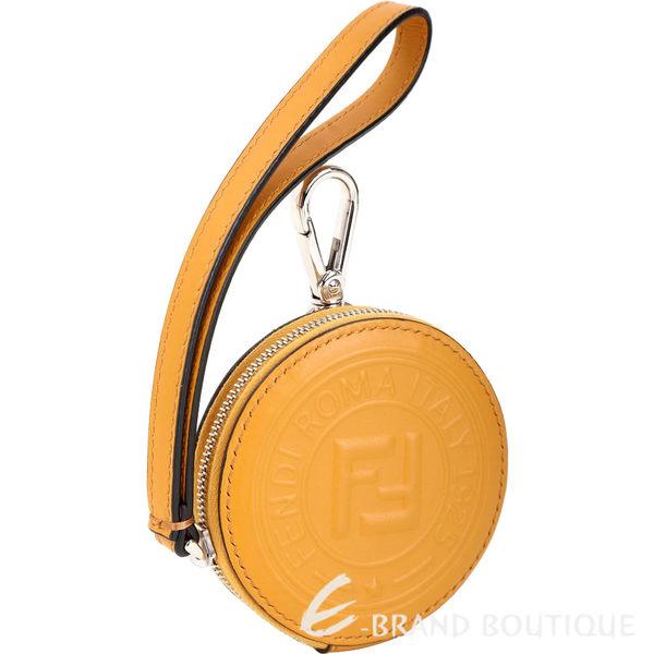 FENDI Stamp 圓型標誌鎖圈式小牛皮零錢包(黃色) 1920687-66