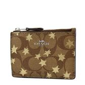 美國正品 COACH 耀眼星星防刮皮革證件鑰匙零錢包-金色【現貨】