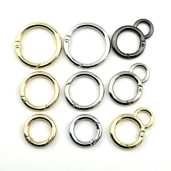 金屬鈕扣圓圈扣環箱包五金配件圓環扣彈簧圈包包裝飾扣圓形扣子