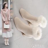 雪地靴冬季新款韓版兔毛馬丁靴粗跟短靴拉鏈加絨裸靴保暖雪地靴子女 快速出貨YJT