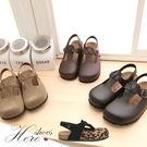 [Here Shoes]4色高質感交錯皮革半包鞋 懶人鞋 休閒拖鞋 ◆MIT台灣製─AP489