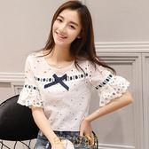 短袖t恤女2019夏季新款韓版顯瘦蝴蝶結上衣喇叭袖蕾絲衫圓領小衫