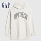 Gap女童 簡約風格印花休閒連帽上衣 619594-灰白色