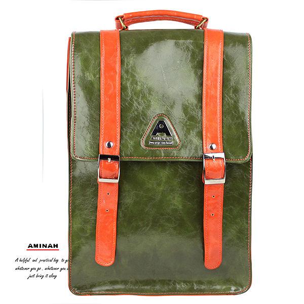 綠色小時代背包 手提/肩背/後背   AMINAH~【am-0261】
