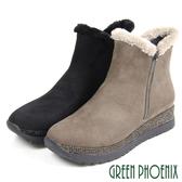U35-26189 女款牛麂皮雪靴   鋪毛水鑽金屬拉鍊牛麂皮厚底雪靴【GREEN PHOENIX】