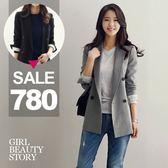 SISI【C8021】休閒小清新韓版修身顯瘦百搭短版長袖小西服外套