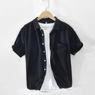 JINRUISHI 純棉襯衫男短袖夏季薄款透氣棉麻襯衣小清新休寸衫男 快速出貨
