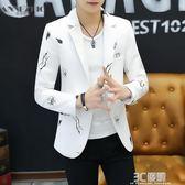 小西服男士韓版修身青少年學生便服單西潮流帥氣發型師西裝外套 3c優購