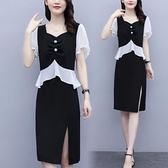 洋裝短袖連身裙中大尺碼L-5XL新款撞色假兩件大碼收腰顯瘦氣質裙子2F086-3055.一號公館