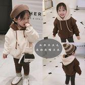 連帽T恤-童裝女童冬裝新款韓版純色加絨加厚衛衣中小童撞色連帽絨衫 草莓妞妞