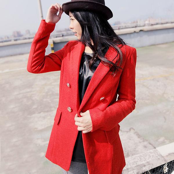 西裝外套 韓國雙排單扣超顯瘦毛尼長版西裝外套【C2017】☆雙兒網☆ Naughty Trick