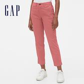 Gap女裝簡約純色五口袋休閒七分褲542685-陶器暗紅色