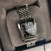 BRAND楓月 FENDI 芬迪 3800G 馬蹄扣鑽錶 黑面盤銀錶 馬蹄造型錶面 手錶 腕錶 女錶