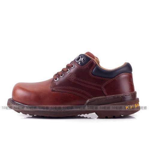 男款 MGA574 A03 凱欣 KS 真皮鋼頭低筒 安全鞋 工作鞋  咖啡色 59鞋廊