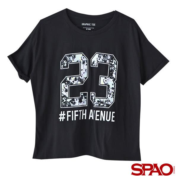SPAO女款反摺袖字母LOGO T恤
