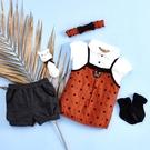 【金安德森】春夏彌月禮盒-星星熊女生款套裝+俏麗髮帶-桔色